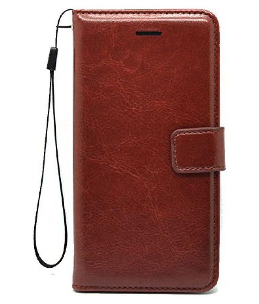 Samsung Galaxy J7 Flip Cover by ClickAway - Brown Original Vintage Retro Leather Flip Cover Case