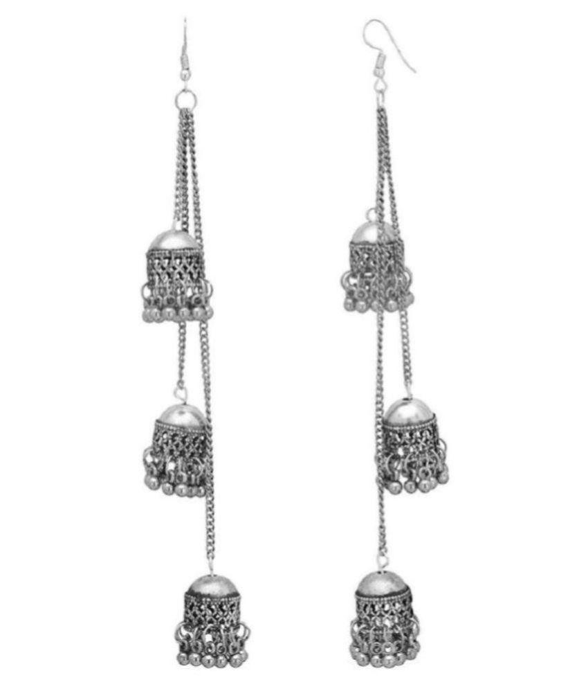 Navya collections German Silver Three layer Kashmiri Style  jhumki earrings