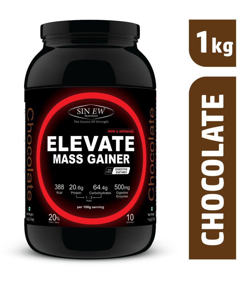 Sinew Nutrition ElevateMassgainer with Digestive Enzymes 1 kg Mass Gainer Powder