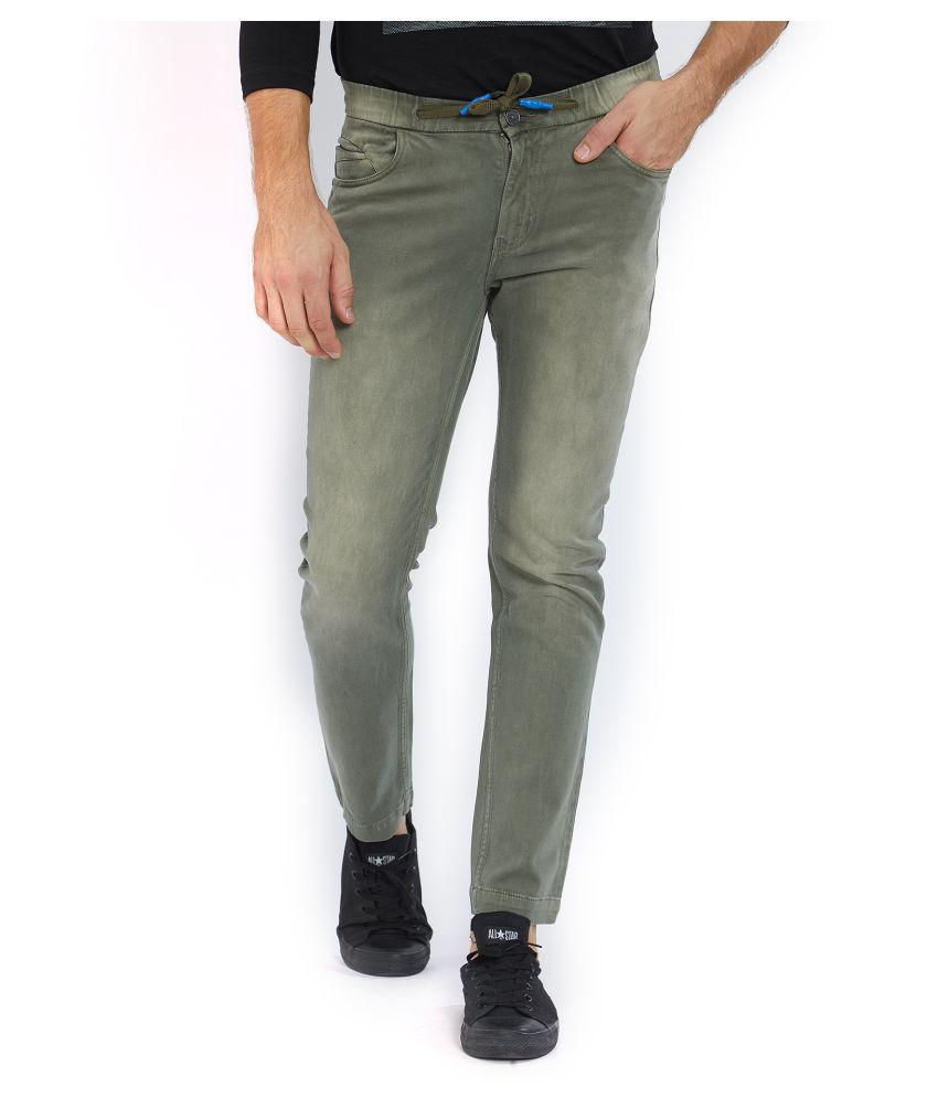 Origin Olive Green Regular -Fit Flat Trousers