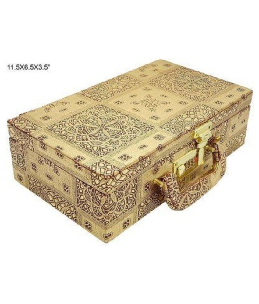 Kuber Industries Wooden 2 Rod Bangle Box, Gold (KI007559)