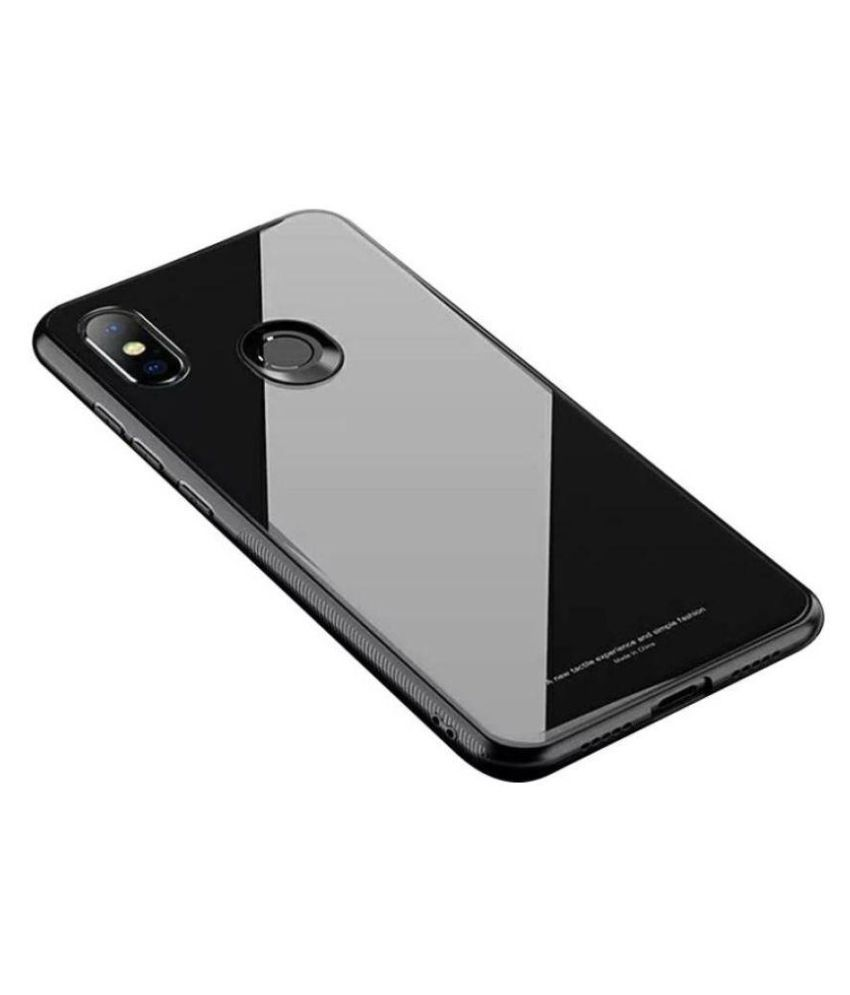 706d9cbb1 Xiaomi Redmi Note 5 Pro Glass Cover Wrapitup - Black Luxurious TPU Back  Glass Case Cover - Black - Plain Back Covers Online at Low Prices