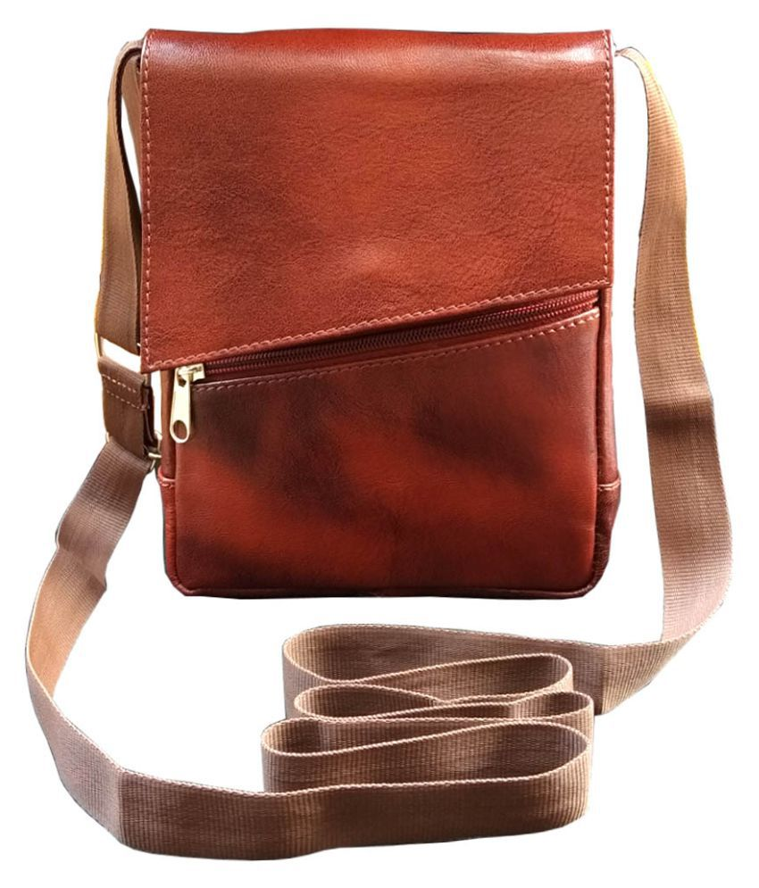 4a9d1d00daa ABYS Brown Leather College Bag - Buy ABYS Brown Leather College Bag Online  at Best Prices in India on Snapdeal