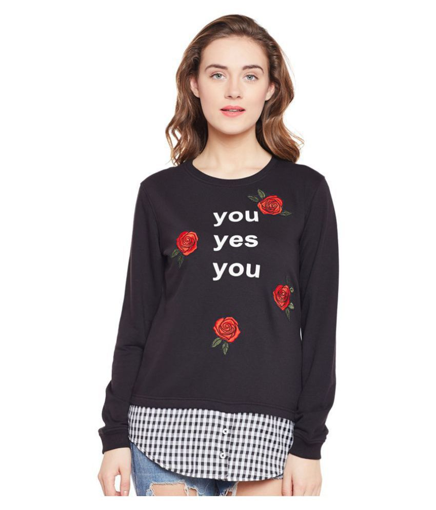 Club York Cotton Black Non Hooded Sweatshirt
