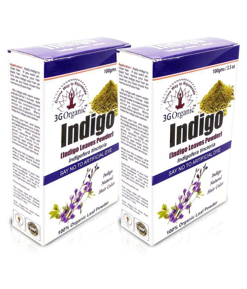 3G Organic 3G Organic Indigo Powder Organic Pack of 2 Temporary Hair Color Black 200 gm Pack of 2