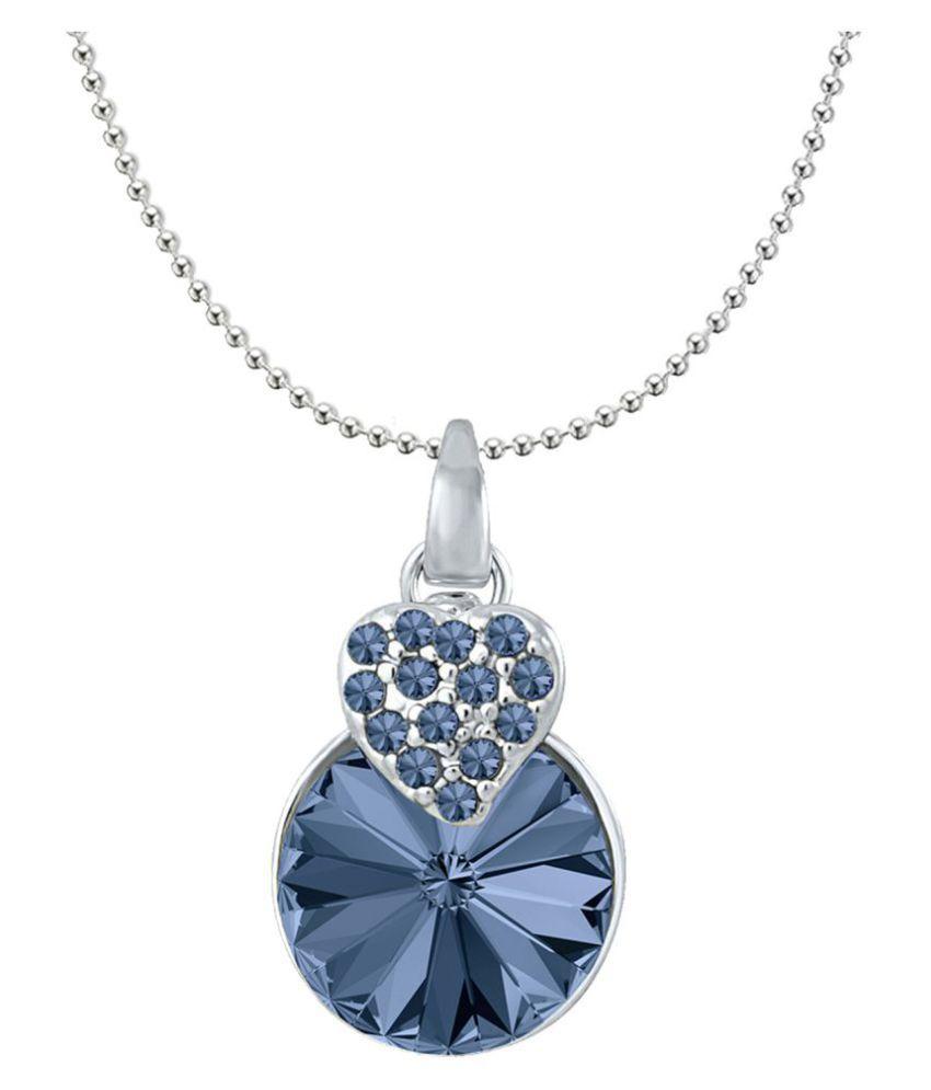 37dc0b82ed48 Mahi Valentine Gift with Montana Blue Swarovski Crystals Rhodium Plated  Heart Pendant for Women PS1194089RMBlu  Buy Mahi Valentine Gift with Montana  Blue ...