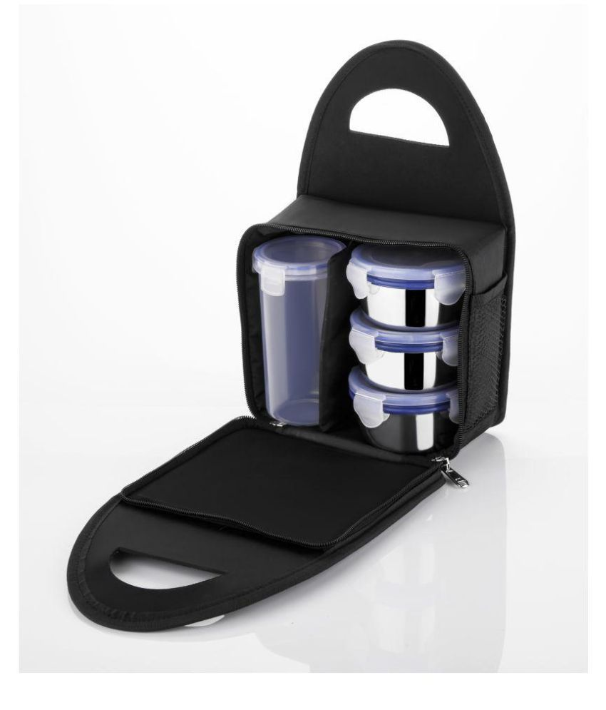 Maruti Reverse Black Stainless Steel Lunch Box