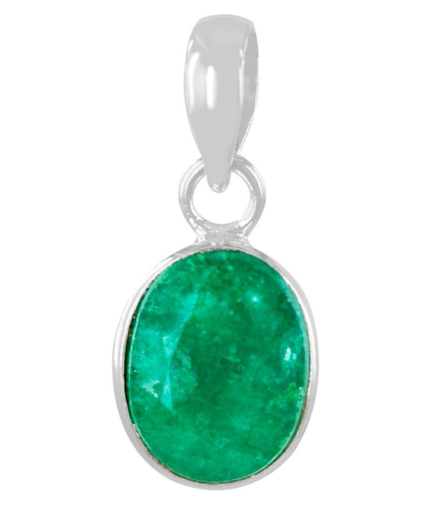 Avaatar 8.25 Ratti Certified Emerald Panna Birthstone Silver Pendant