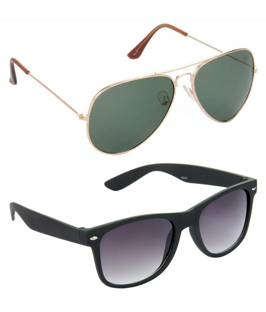 Hrinkar Golden & Silver Frame Brown & Blue Lense Pilot Sunglasses Combo Pack Of 2 - S-HCMB1099