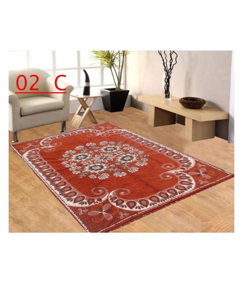 Kaizen Decor Rust Chenille Carpet Ethnic 5x7 Ft