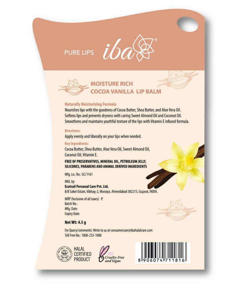 Iba Halal Moisture Rich Lip Balm Cocoa Vanilla 4 5 gm