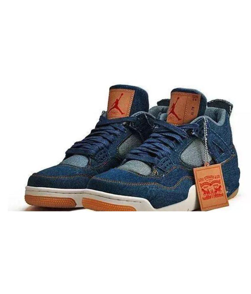 size 40 84181 0ec04 Nike AIR Jordan 4 Retro Levis Denim Blue Basketball Shoes