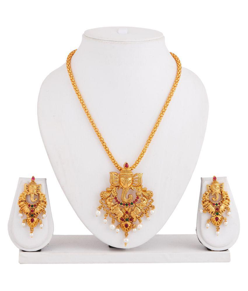 Apara MulticolourGanpathy Pendant Temple Jewellery Gold