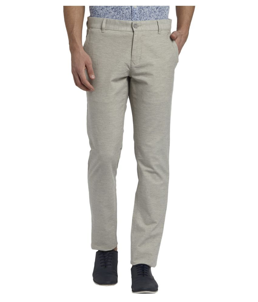 Colorplus Grey Tapered -Fit Flat Trousers