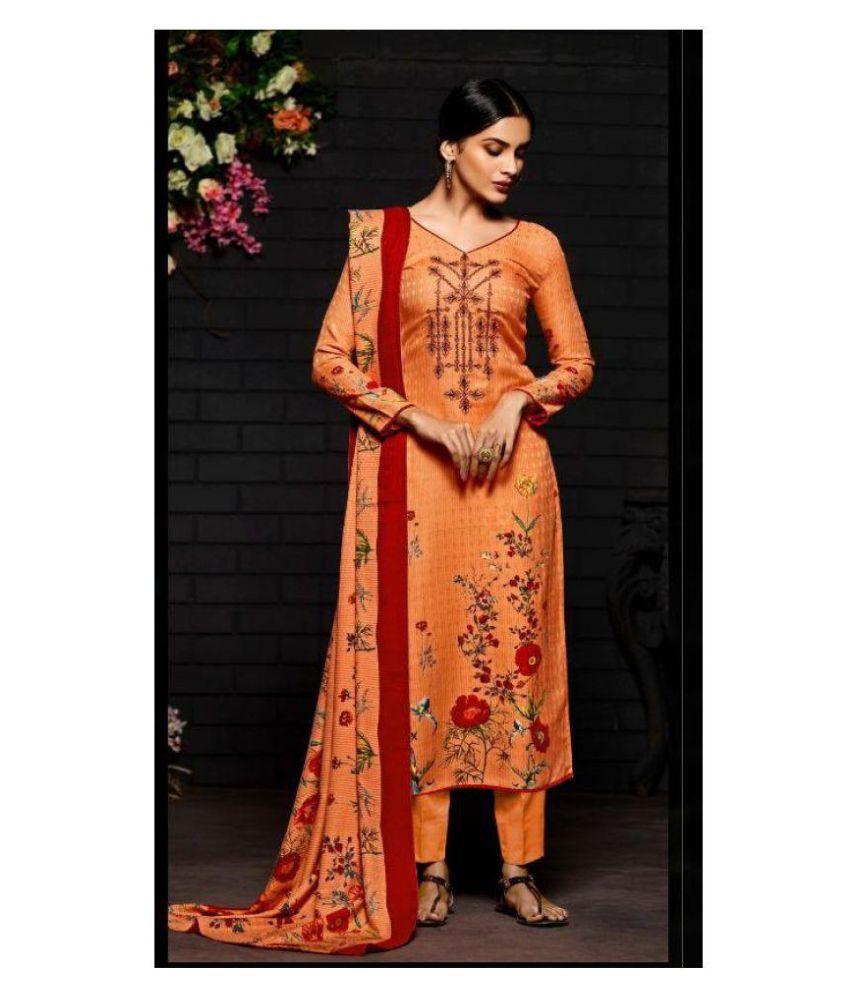 saumya Fab Orange Pashmina Blend Dress Material