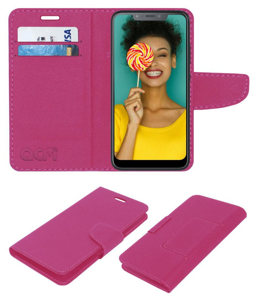 Infinix Hot S3X Flip Cover by ACM - Pink Wallet Case,Can store 2 Card/Cash