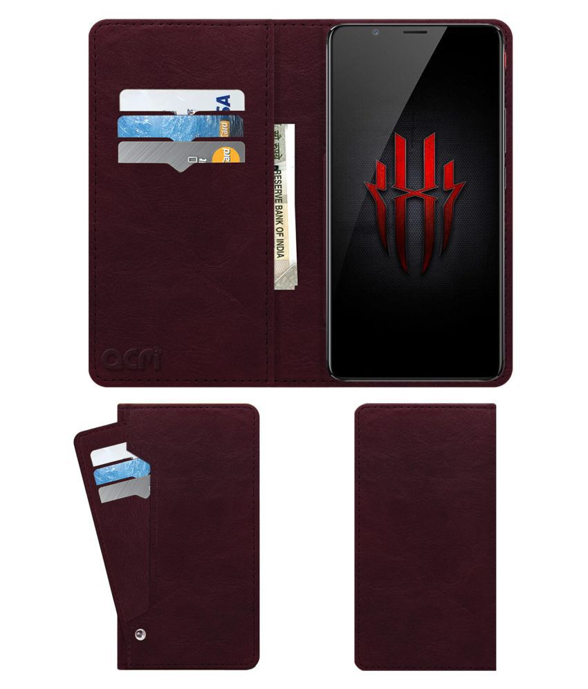 Nubia Red Magic Flip Cover by ACM - Red Wallet Case,Can store 6 Card & Cash,Burgundy Red