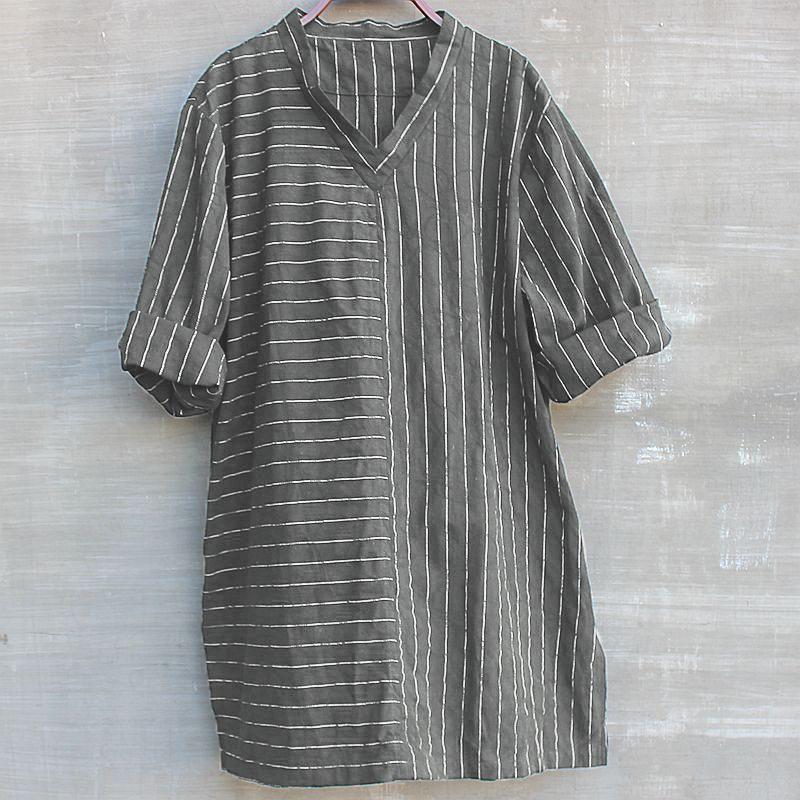 INCERUN Men Vintage Stripe Casual 3/4 Sleeve V-Neck Loose Tee Top T-Shirts