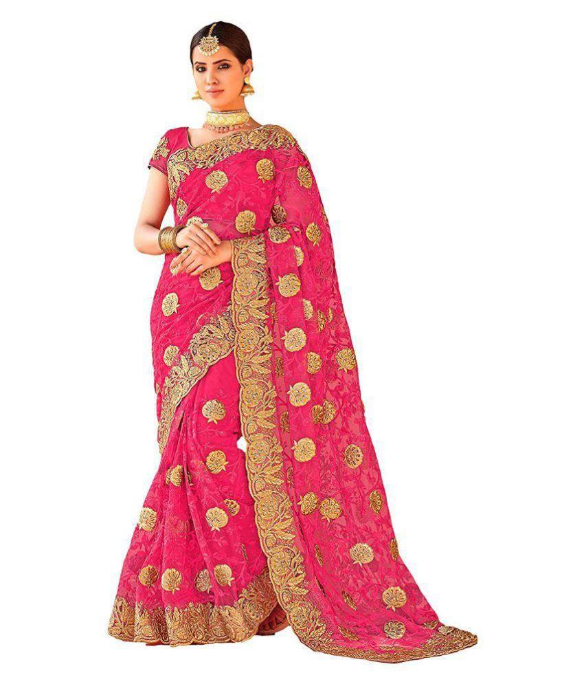 Nirjas Designer Pink and Beige Net Saree