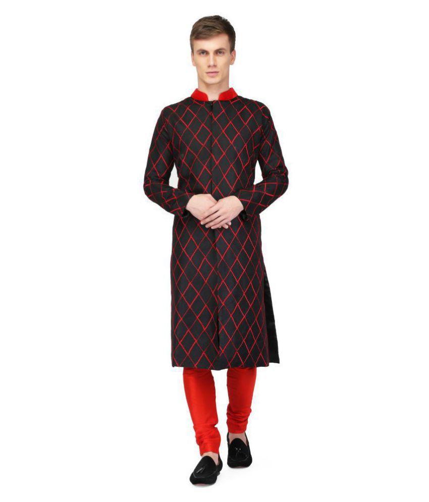 Pret A Porter Black Cotton Blend Sherwani