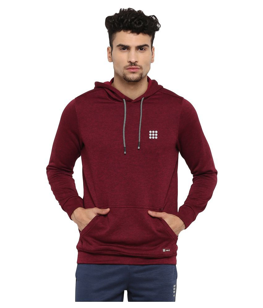 Rock.it Mens Maroon Printed Hooded SWIFT DRI Sweatshirts