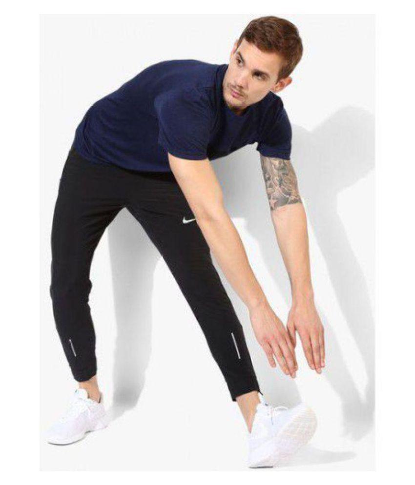 Black Polyester Lycra Trackpants