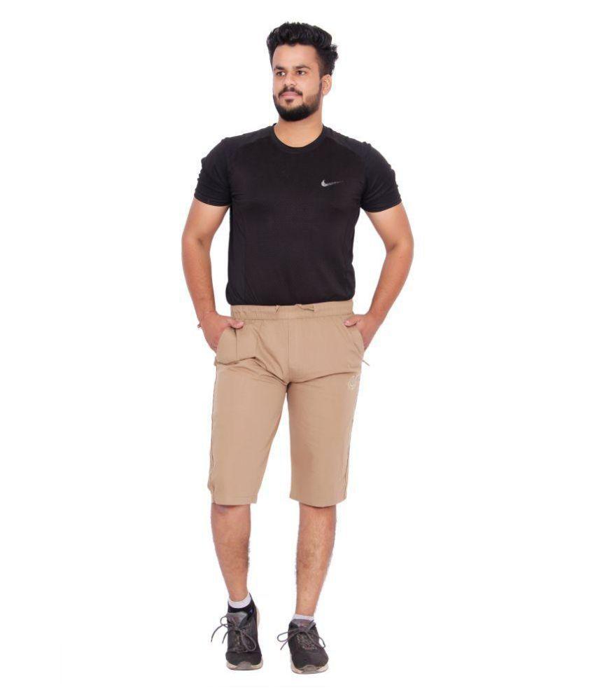 Kuber Industries Cotton Knee Length Capri for men  (Brown)