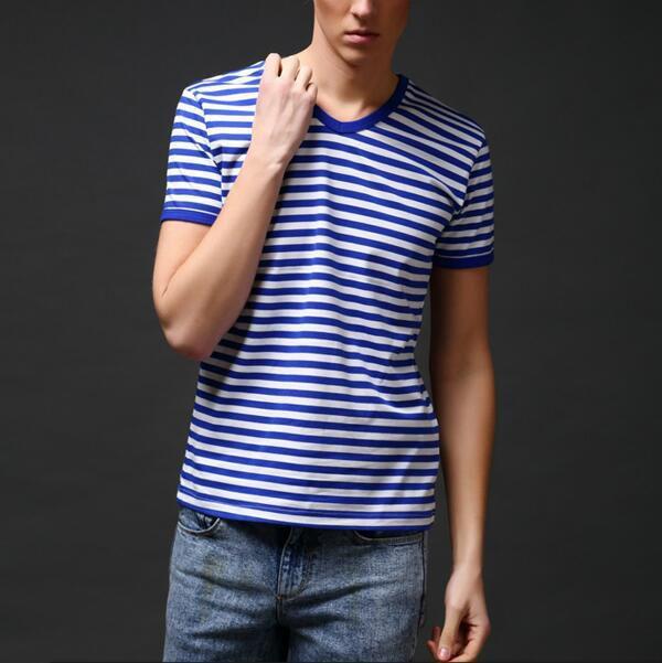 Slim Fit Sailor's Striped Shirt Half-Sleeved T-shirt for Men