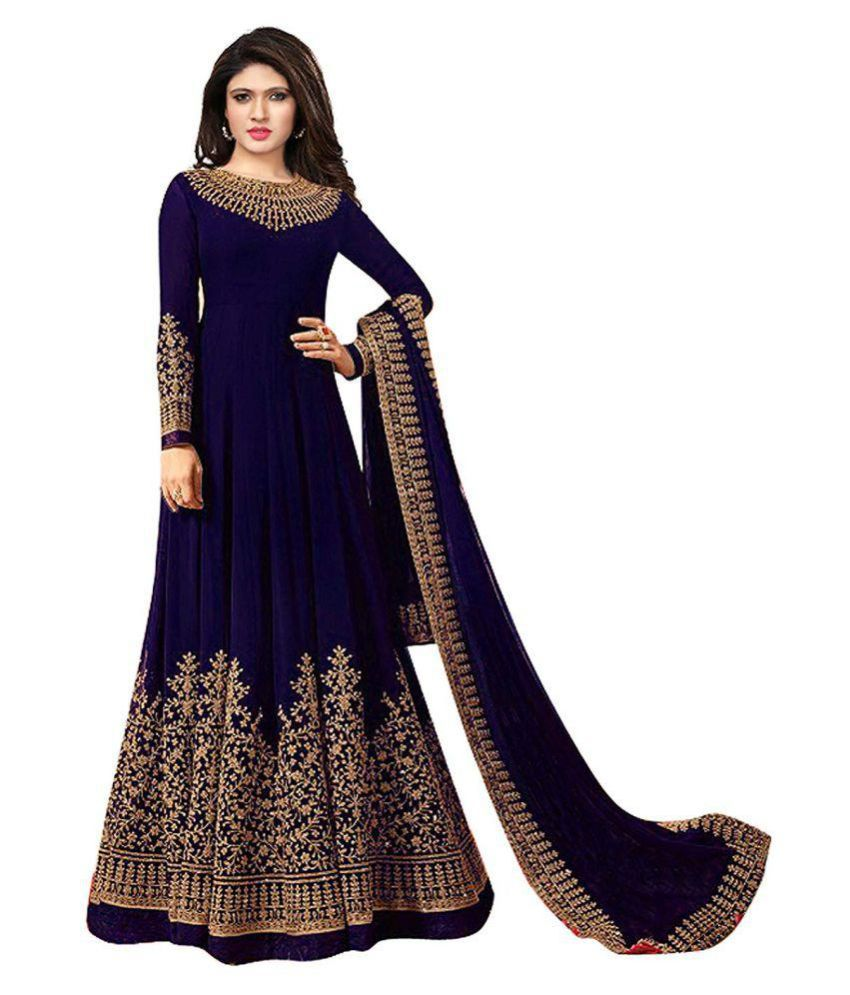 149b7a19dc WORLDWIDE FASHION Blue and Grey Georgette Anarkali Gown Semi-Stitched Suit  ...