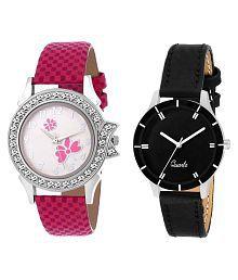 Kiwid Leather Round Womens Watch- Buy 1 Get 1 Free