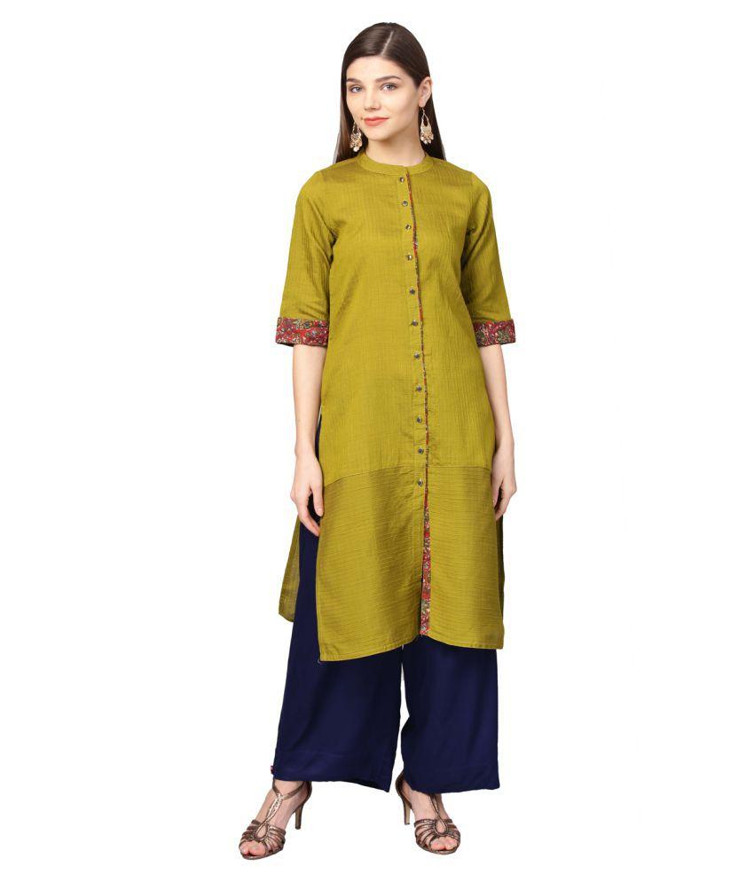 Jaipur Kurti Green Cotton Silk Straight Kurti