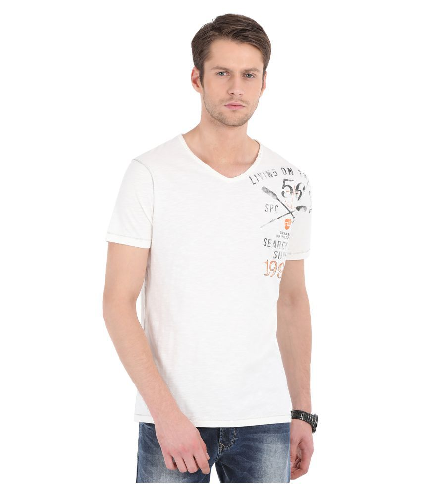 87f0a02429f Spykar Off-White Half Sleeve T-Shirt - Buy Spykar Off-White Half ...