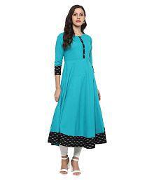 Yash Gallery Turquoise Cotton Anarkali Kurti