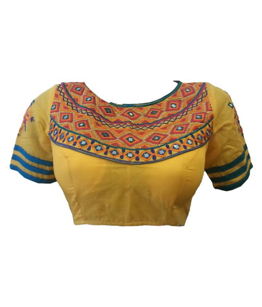 Intrigue Yellow Silk Readymade with Pad Blouse