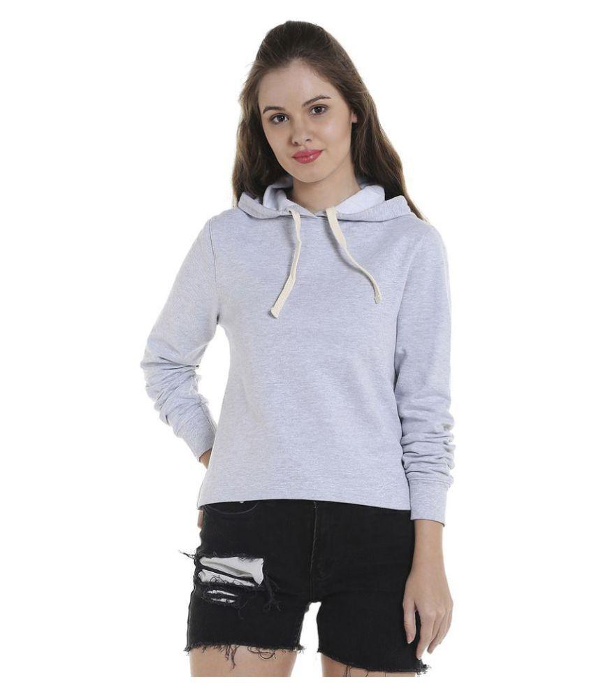Campus Sutra Cotton Grey Hooded Sweatshirt