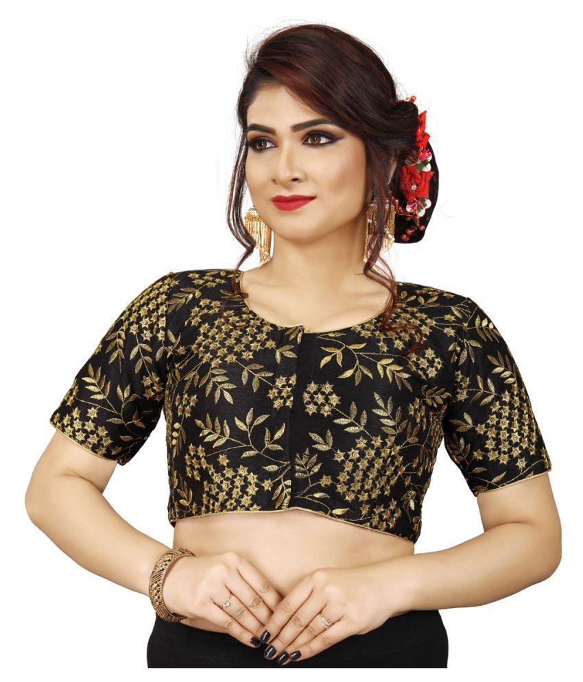 Amrutam Fab Black Silk Readymade with Pad Blouse