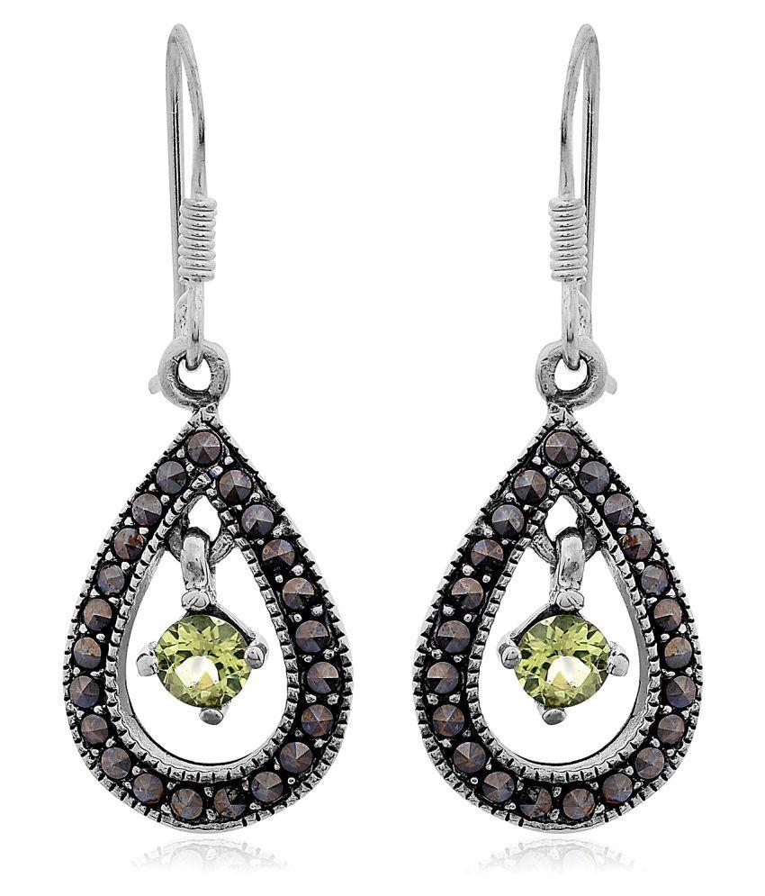 Nirman 92.5 Silver Peridot Drop Earrings