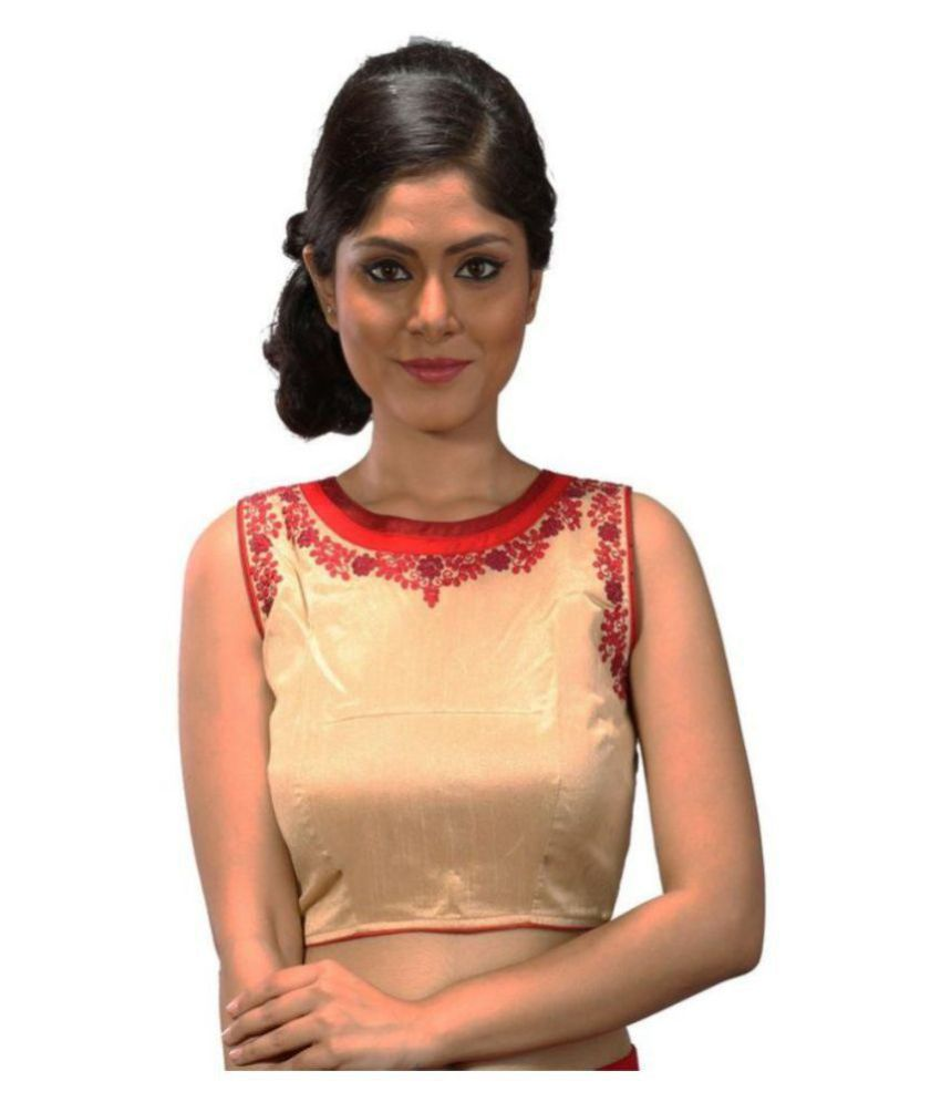 Intrigue Beige Silk Readymade without Pad Blouse