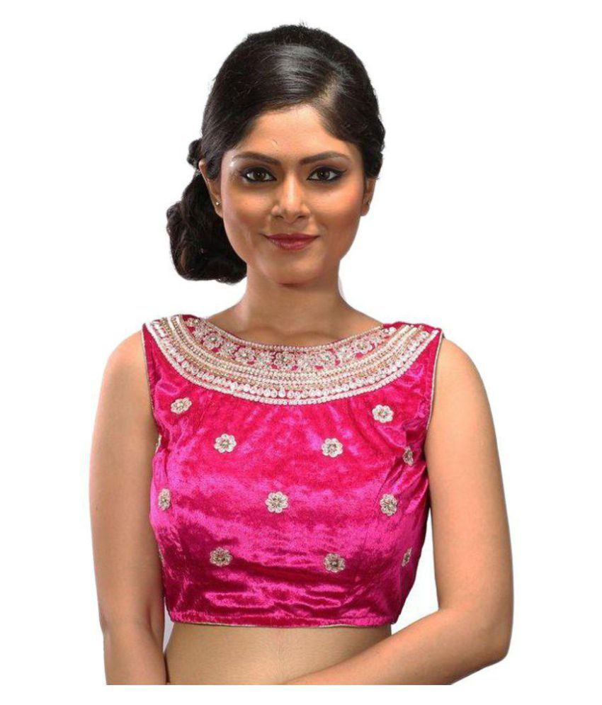 Intrigue Pink Silk Readymade with Pad Blouse