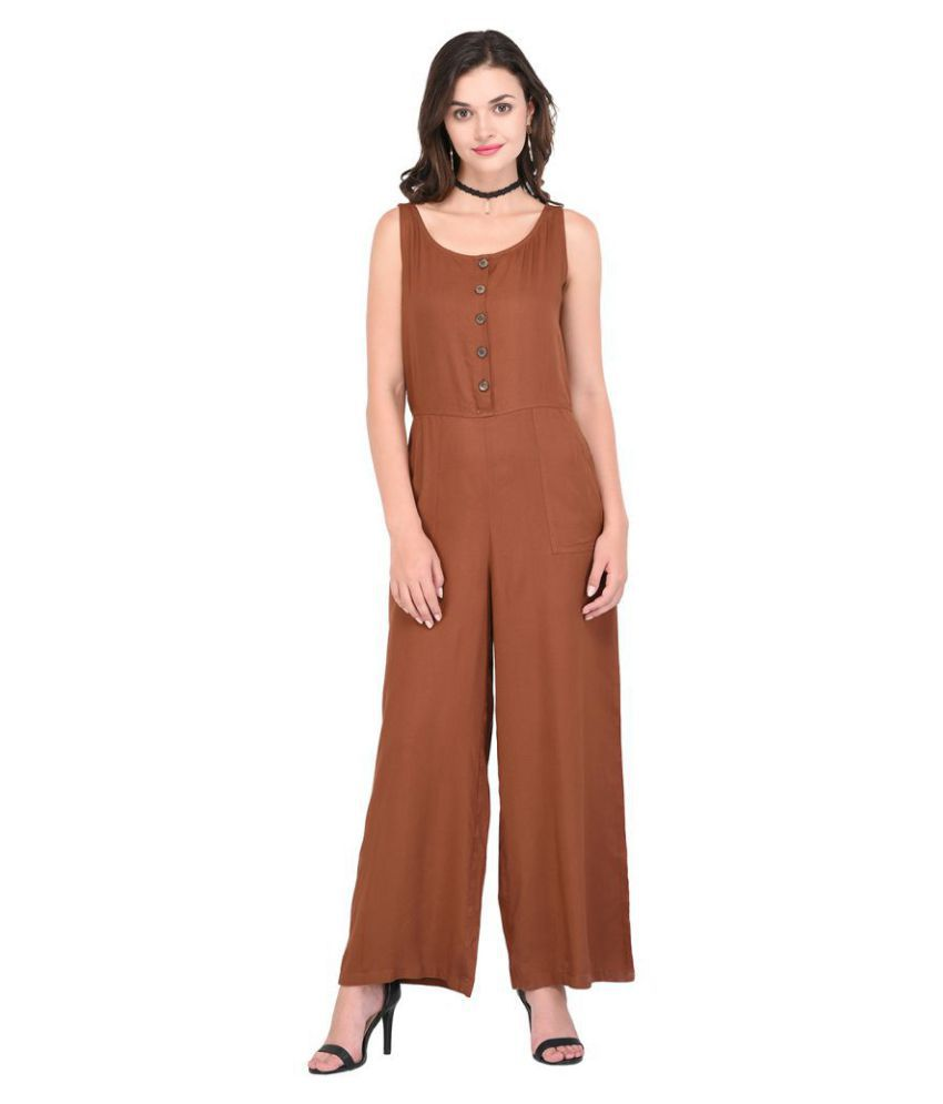 Purys Brown Rayon Jumpsuit