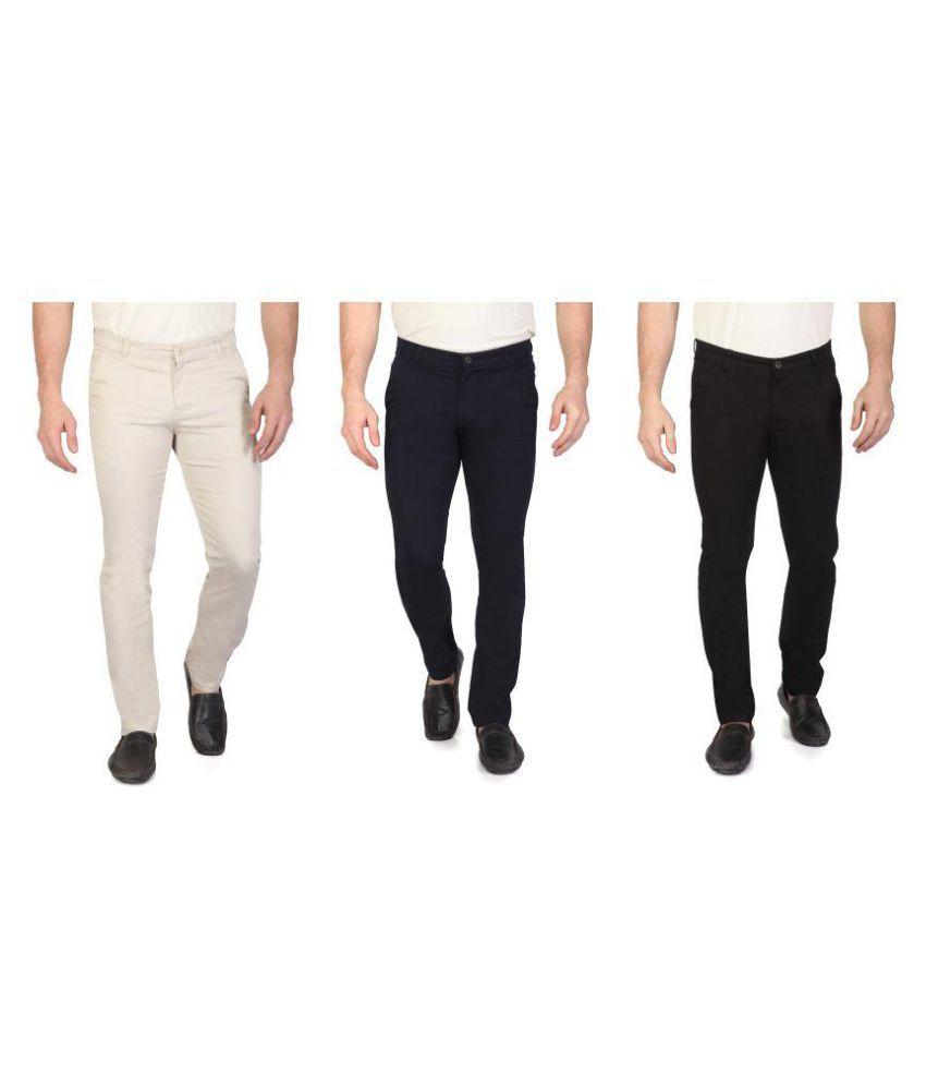 RAGZO Multicolored Slim -Fit Flat Chinos