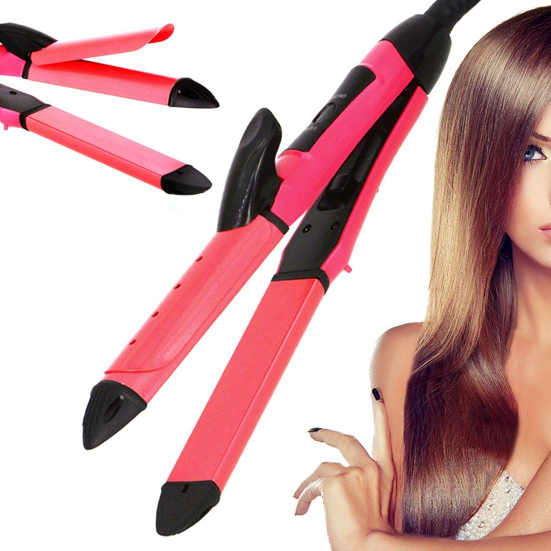 SJ 2 in 1 Travel Professional Hair Straighteners Flat Iron 45W Hair Straightener ( Red )