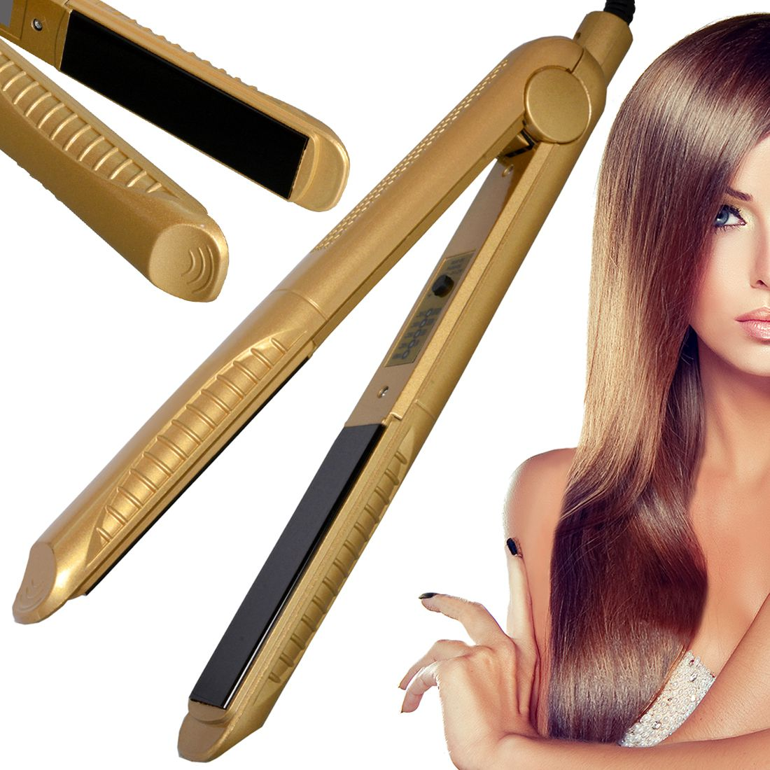SJ Temperature Control Flat Iron Professional Travel Hair Straighteners 45W Hair Straightener ( Golden )