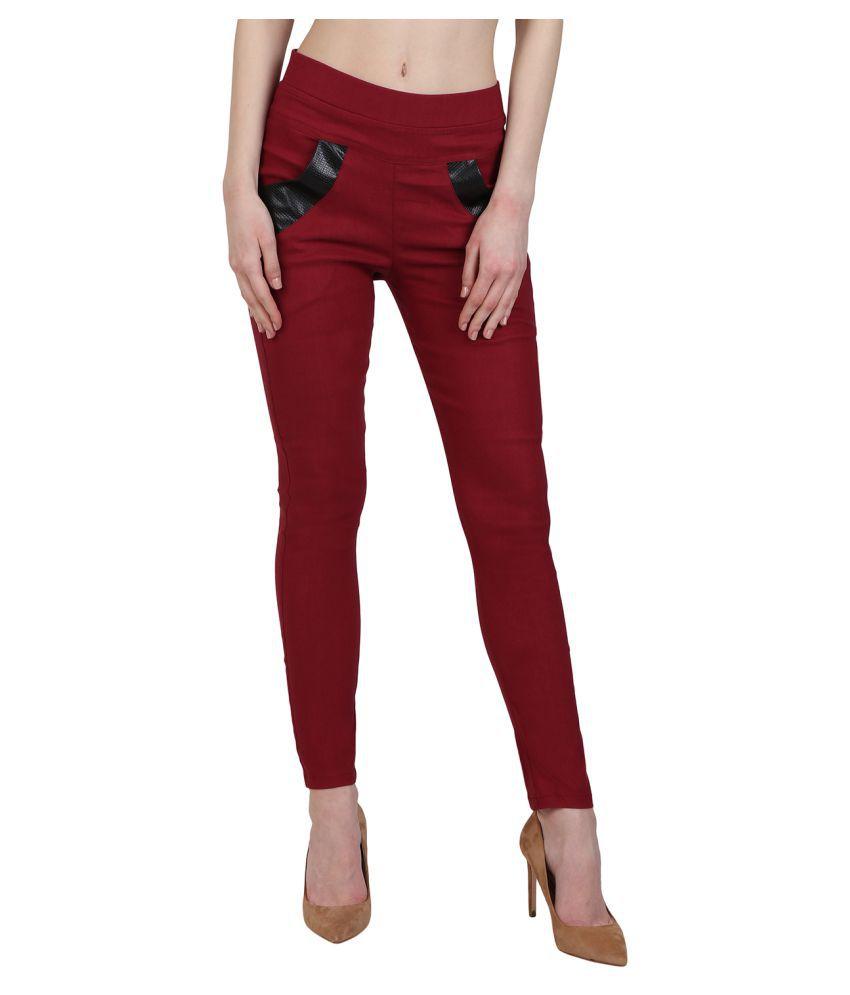 Kalakaari Cotton Lycra Jeggings - Red