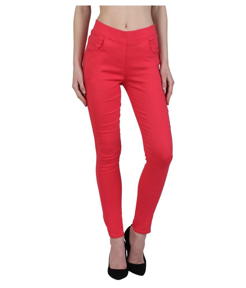 Kalakaari Cotton Lycra Jeggings - Red