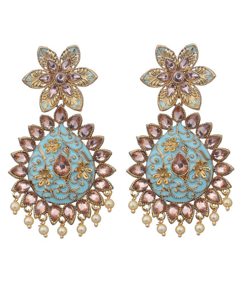 Adorn Gold Plated Beautifully Enamelled Pearl CZ Dangler Earrings For Women/Girls