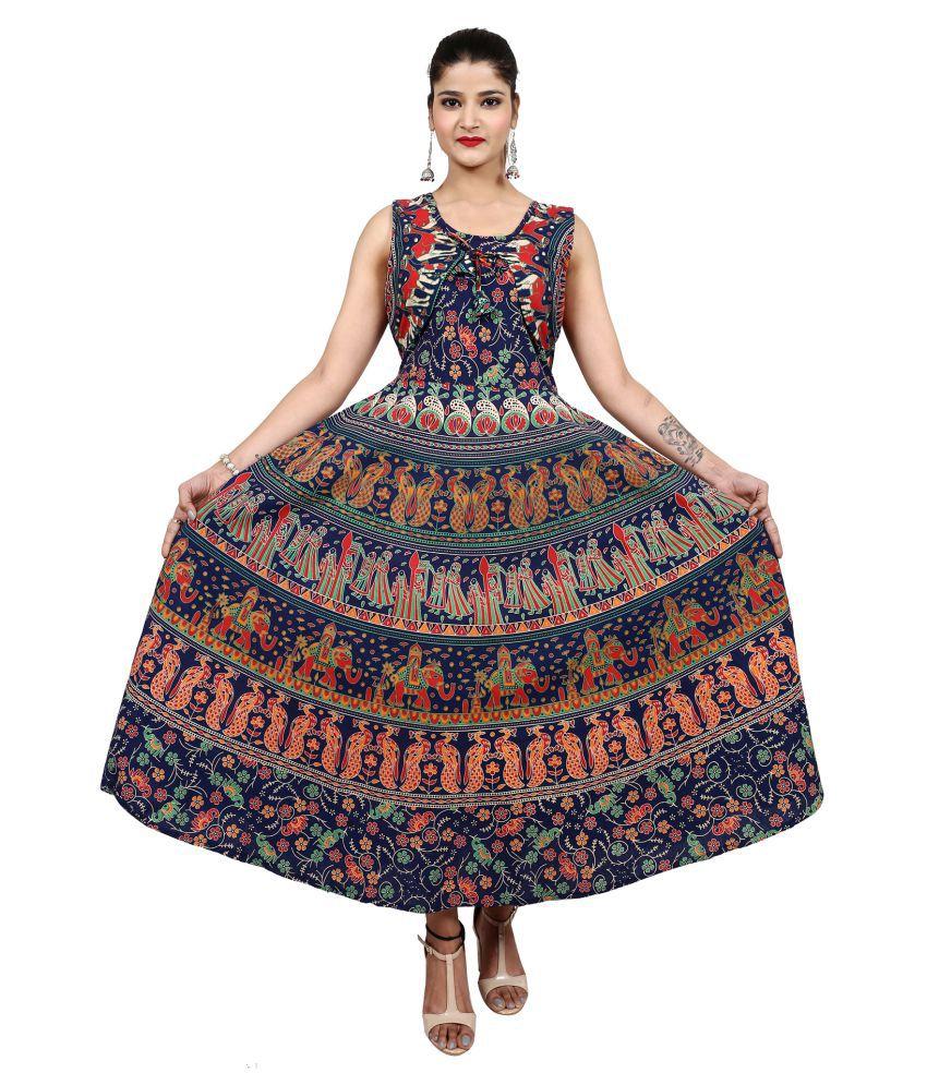 Dhruvi Cotton Multi Color Fit And Flare Dress