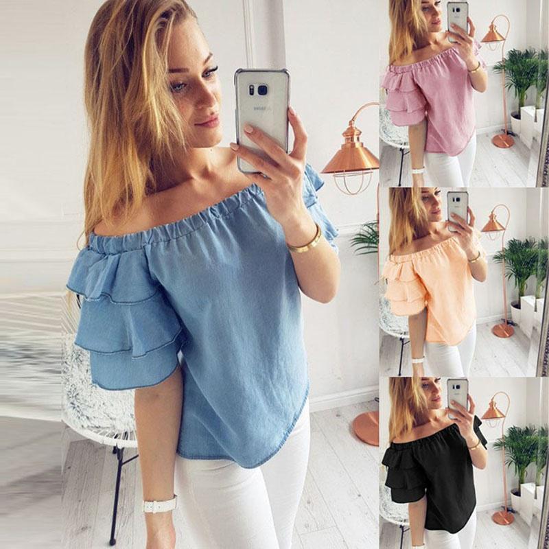 4660b11cb3d Hot Sale Fashion Women s Off Shoulder Tops Short Sleeve Shirt Casual Blouse  Loose T-shirt ...