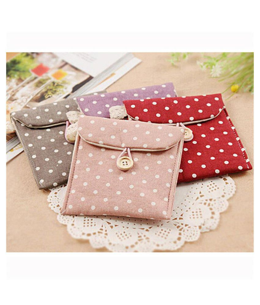 2017 Women Storage Bag Polka Dot Organizer Storage Female Hygiene Sanitary Napkins Package Purse Case Makeup bag travel handbag