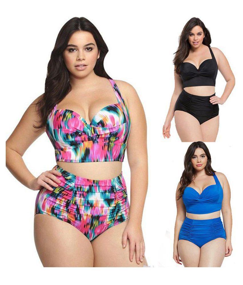Bikini swimsuit retro fat woman high waist swimsuit bikini Buy